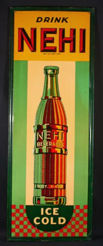 1930s TIN LITHO NEHI SODA ANTIQUE ADVERTISING SIGN EARLY SODA FOUNTAIN RELIC NR