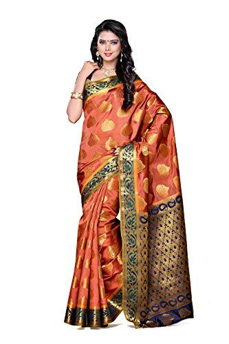 Mimosa Women's Traditional Art Silk Saree Kanjivaram Style With Blouse Color:Peach(3313-161-PCH-NVY ) Check more at http://www.indian-shopping.in/product/mimosa-womens-traditional-art-silk-saree-kanjivaram-style-with-blouse-colorpeach3313-161-pch-nvy/