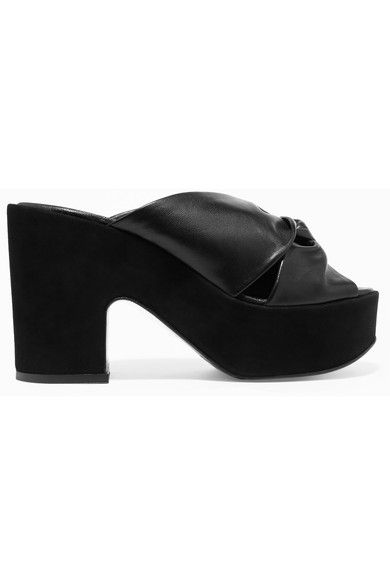 Robert Clergerie - Esther Knotted Leather And Suede Platform Mules - Black - IT38.5