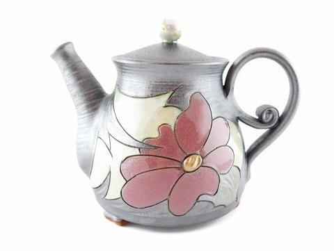 Wheel Thrown Pottery Teapot 34oz Flower - Handmade Ceramics and pottery…