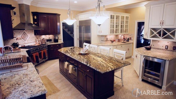 Black Thunder and Giallo Napole Granite Kitchen Countertops