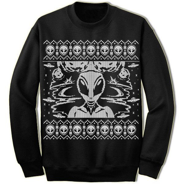 Alien Ugly Christmas Sweater. UFO. I Want To Believe.