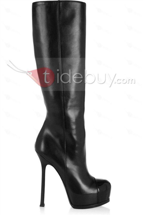 エレガントブラックスティレットヒール女性ブーツ