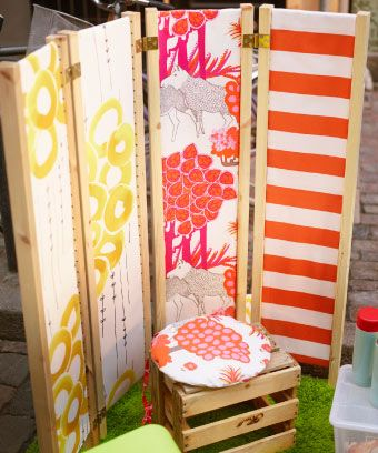 """""""To really create that room feeling, we added fabric to IVAR side units and joined them together with hinges to make easy-to-bring-along walls. And if you're really feeling crafty, you can make a sunshade of fabric like we did here."""""""