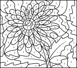 difficult color by number printables gerbera printable color by number page hard - Color By Number Pages
