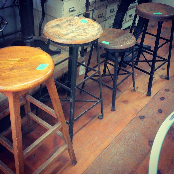 Assorted Antique Stools ~ #antique #stools #wood #decor *JoJo's Place www.jojosplace.com