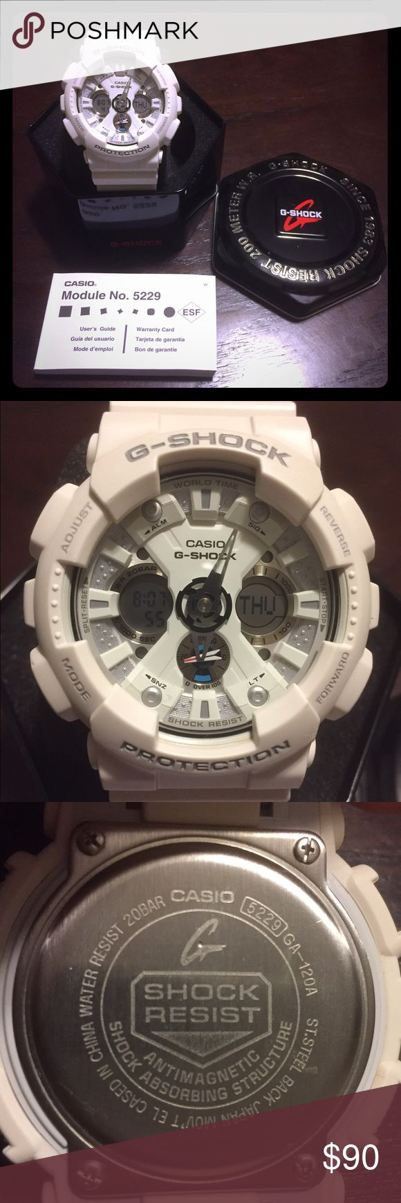 Men's white G-Shock Watch Gently used men's g-shock watch, looks good work, casual, or dresses up. Priced to sell quick. G-Shock Accessories Watches