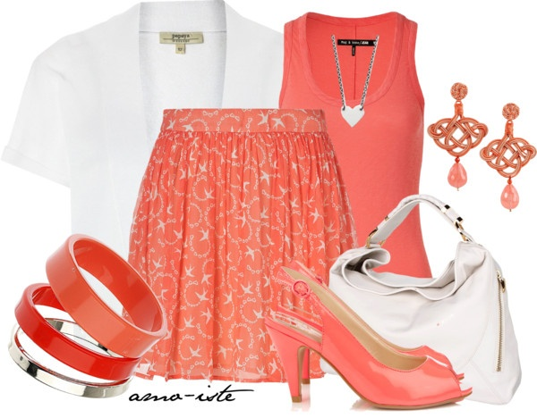 """""""Coral conference outfit"""" by amo-iste ❤ liked on Polyvore"""