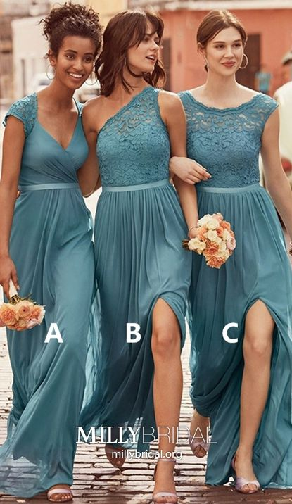 a0b14fdeedbbd Long Bridesmaid Dresses Jade 2019, Sheath/Column Prom Dresses with Cap  Sleeves, Sexy Lace Formal Evening Dresses V-neck, Chiffon Wedding Party  Dresses ...