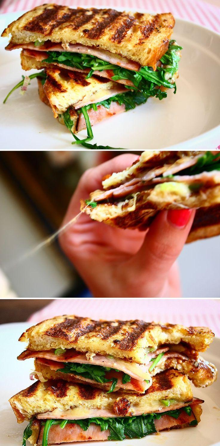 ham and cheese panini. | Panes, pizzas, etc | Pinterest