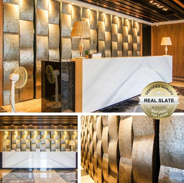 Fantasztikus 3D fal Slate Lite Argento kőburkolatból