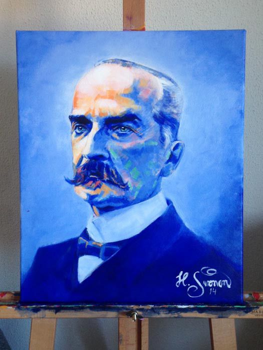 The First President of Finland. Carl Johan Ståhlberg by Heikki Sivonen | Acrylic on canvas 46x55cm | www.heikkisivonen.com | #colors #art #paintings #portrait #vividcolors #blueperiod