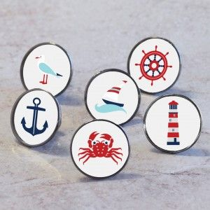 Choose from our range of nautical 'at sea' cupboard drawer and door knobs to suit your furniture.  These knobs are easy to fit, they fit any chest of drawers, wardrobe and kitchen furniture.. Transform your bedroom, living room or kitchen with these different nautical themed knobs.   These seaside nautical themed furniture knobs will add a sense of fun and beach holiday adventure to your home. They make a perfect addition to the room and help to completely transform your furniture.