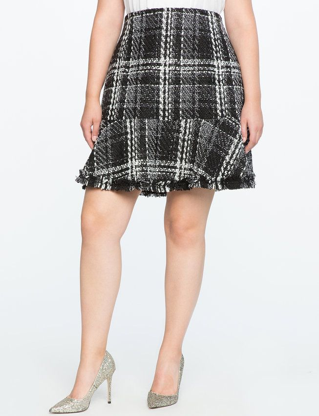 Tweed Fit and Flare Skirt with Frayed Hem from eloquii.com