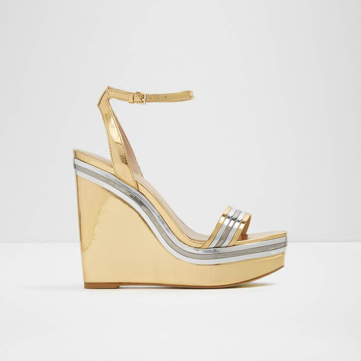 Aldo Janila Wedge Sandals Gold Wedges Heels Womens Sandals Womens Heels