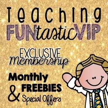 VIP-klubb for Teaching FUNtastic medlemmer - få eksklusive tilbud og gratis produkter hver eneste måned :)