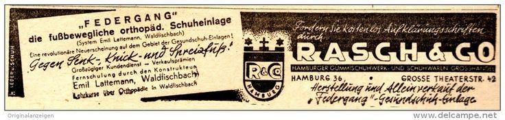 Original-Werbung/ Anzeige 1948 - FEDERGANG- SCHUH -EINLAGE / LATTEMANN  - RASCH & CO. - HAMBURG - ca. 155 x 35 mm