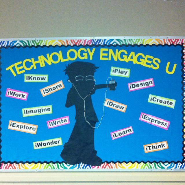 Black and neon. Technology Theme Bulletin Board