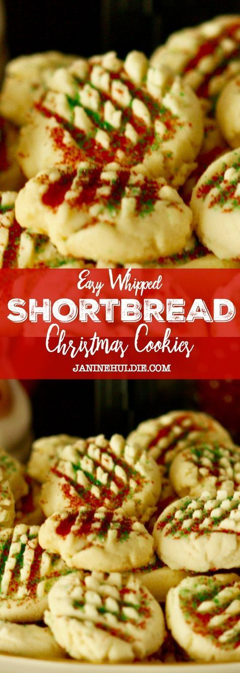 Easy Whipped Shortbread Christmas Cookies | Article and Recipe from Janine Huldie via Confessions of A Mommyaholic | http://www.janinehuldie.com/2016/12/easy-whipped-shortbread-cookies