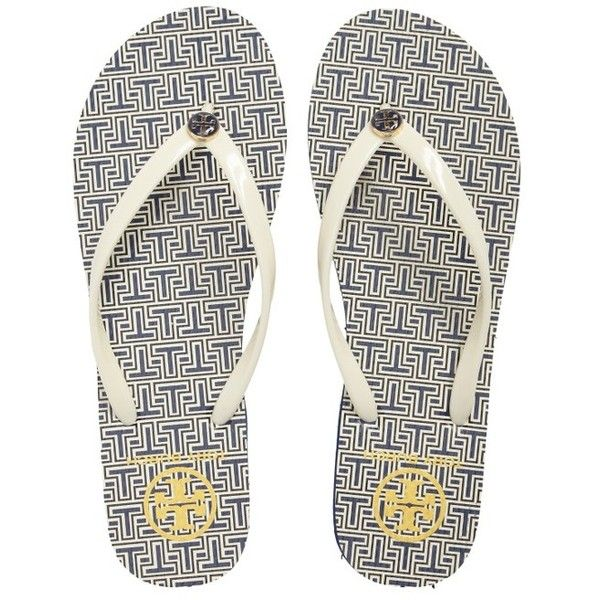 Women's Tory Burch Thin Flip Flop ($50) ❤ liked on Polyvore featuring shoes, sandals, flip flops, tory burch flip flops, thin flip flops, tory burch footwear, tory burch shoes and light weight shoes