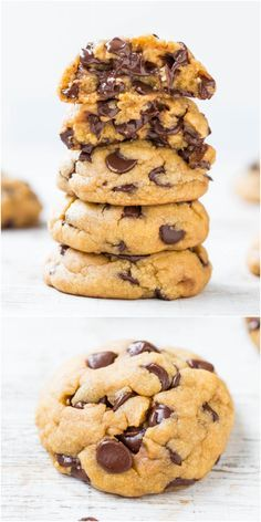 The Best Soft & Chewy Coconut Oil Chocolate Chip Cookies - You'll never miss the butter in these cookies that are so soft & loaded to the max with chocolate! More