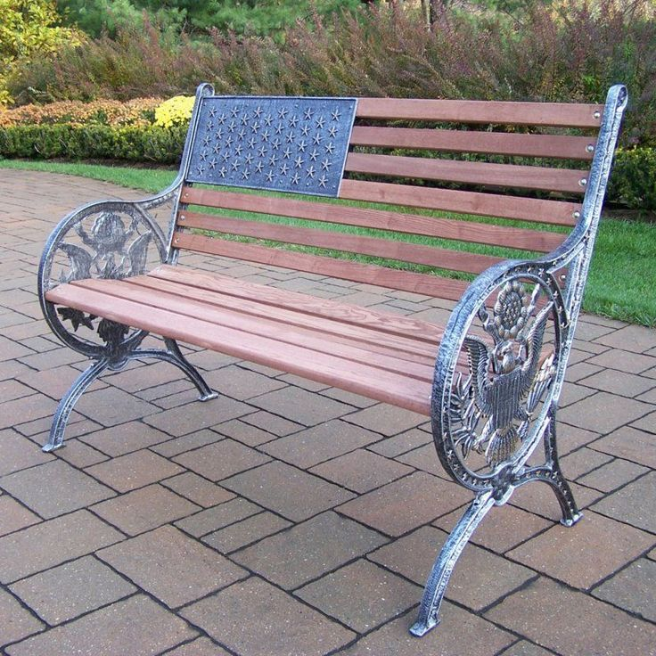 Outdoor Oakland Living Proud American Old Glory Flag Cast Iron and Wood Bench - 6011-