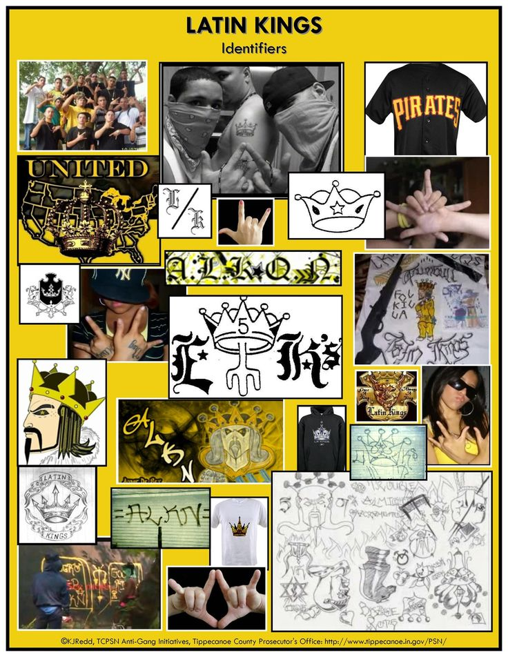 A collage of tattoos and identifiers of the Latin Kings gang.