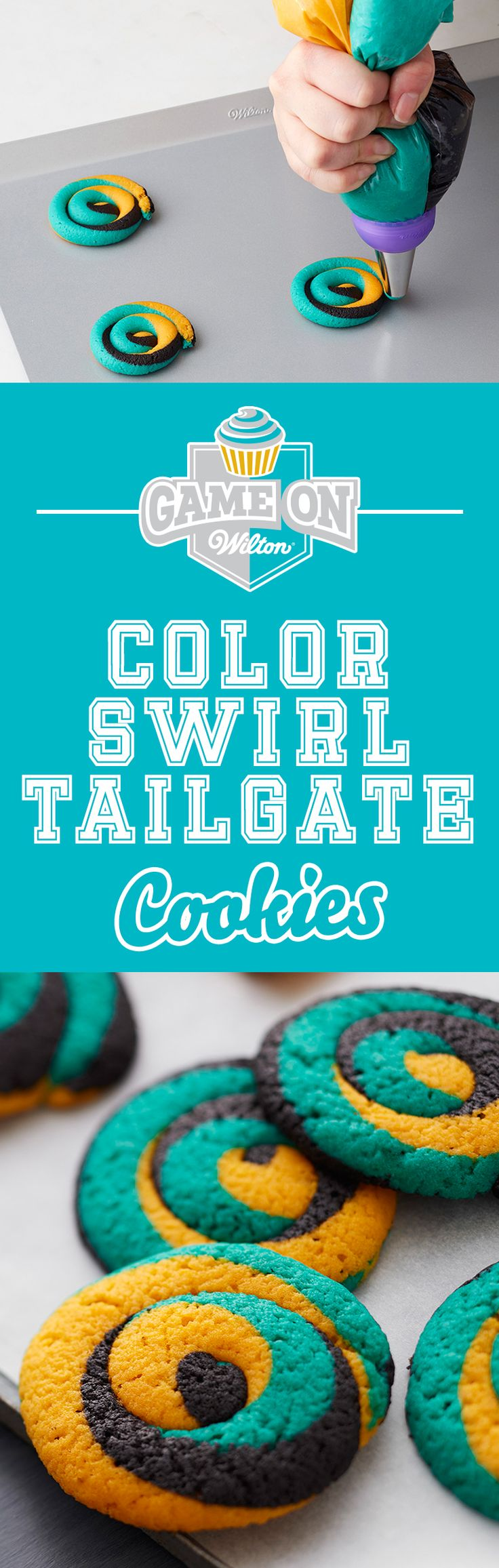 Learn to make these Tailgate Cookies that show off your favorite team colors! This easy-to-make cookie dough recipe is also easy to color so you can show off your spirit at any football game, tailgate, cookout, youth sports event or just any time you feel like a treat! Use the Wilton Color Swirl 3-Color Coupler to seamlessly pipe three icing colors in one stroke.