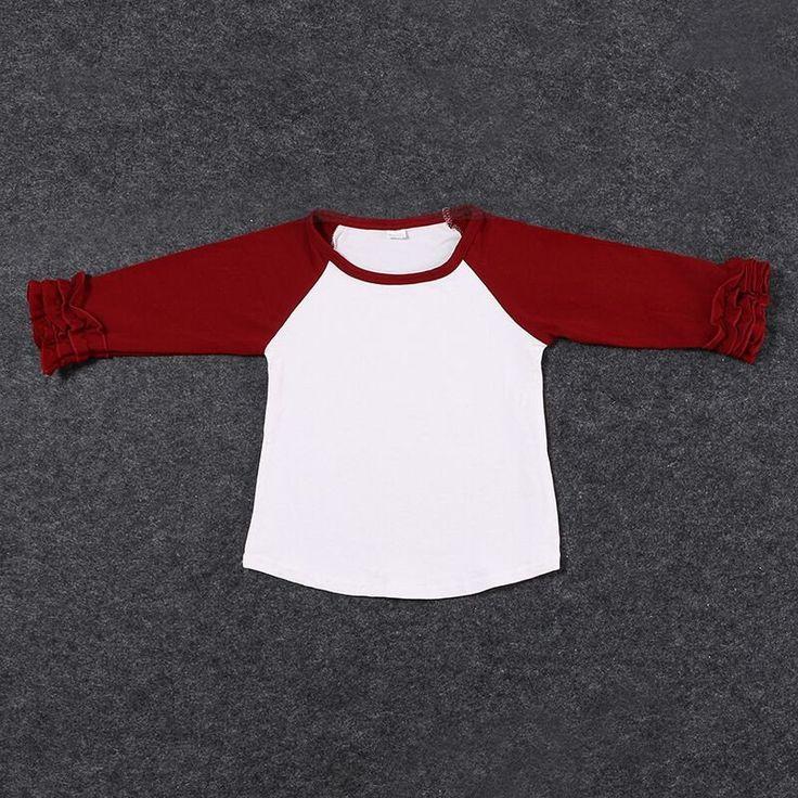 Girls Burgundy Ruffle Sleeve Raglan T-Shirt