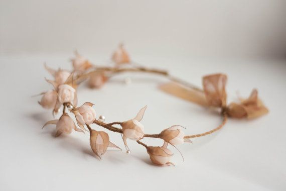 Bridal flower crown with textile rose buds and by ZojkaBotanica