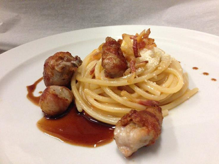 Spaghetto MANCINI, quaglia, guanciale e pomodoro camone...