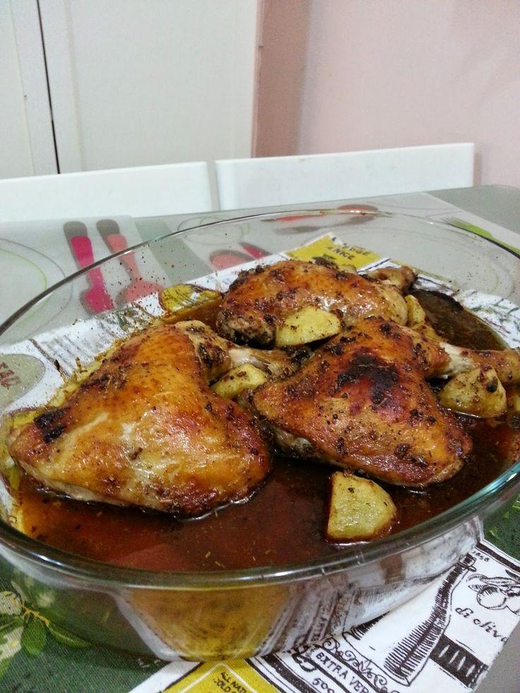 Ada 3 ketul quarter chicken dalam peti sejuk.     Justeru, resepi untuk lunch hari ni, haruslah memanggang ayam. Dalam banyak-banyak resep...
