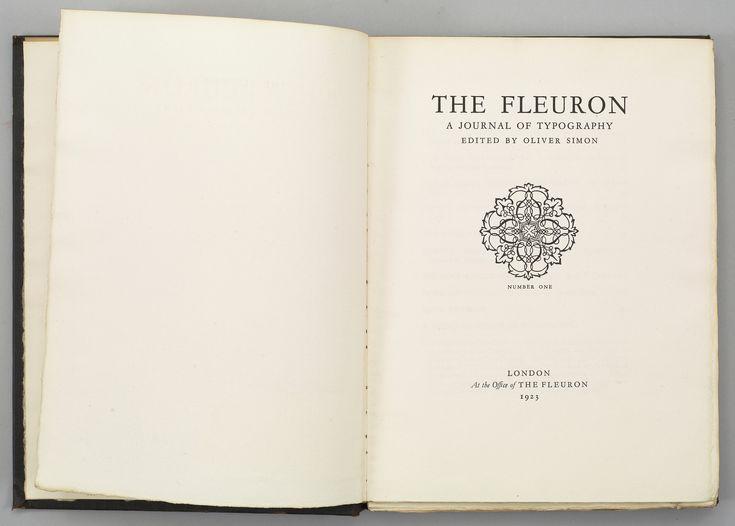 The Fleuron, vol. 1, title page.