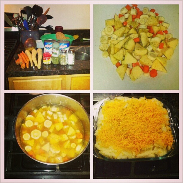 My original Root Vegetable Shepherds Pie. Comment if you want the ...