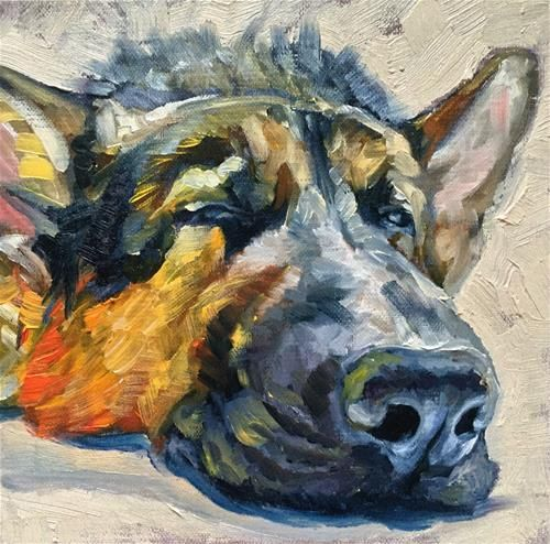"Daily Paintworks - ""One Eye Open"" - Original Fine Art for Sale - © Jessica Willyerd"