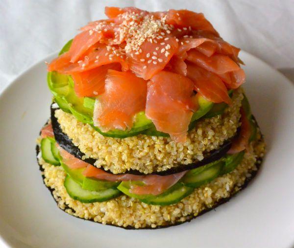 sushi taart quinoa zalm