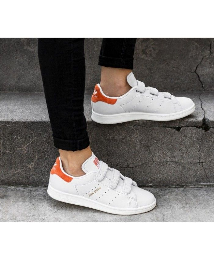on sale 4a38f 31ea1 Adidas Stan Smith Velcro White Orange Trainers
