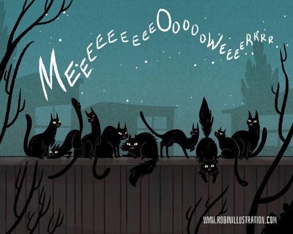 Zwarte kat Serenade 8 x 10 kunst print