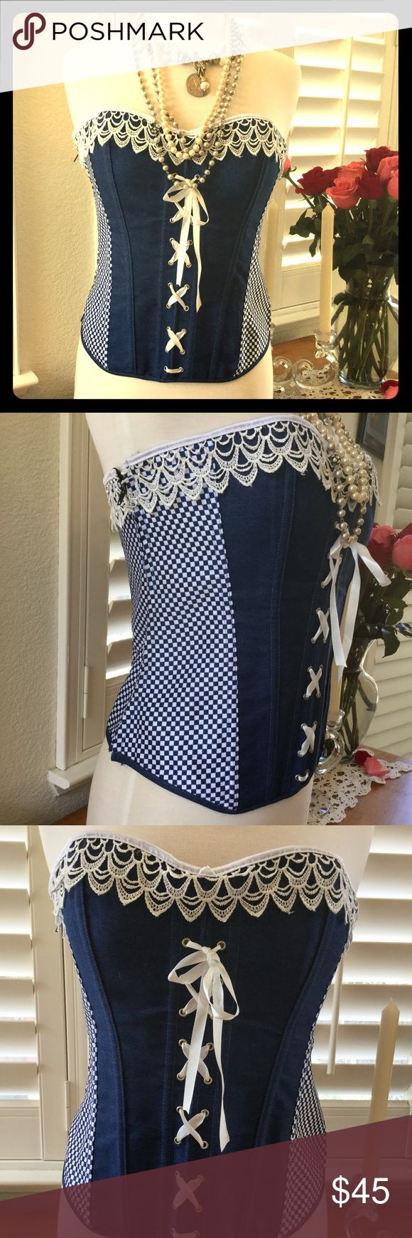 Flirty Lace and Denim and Summery Corset Sweet 3 inch lace detailing with denim zip up side and lace up back. Flattering to all figures from M-XXL! New Tops Camisoles