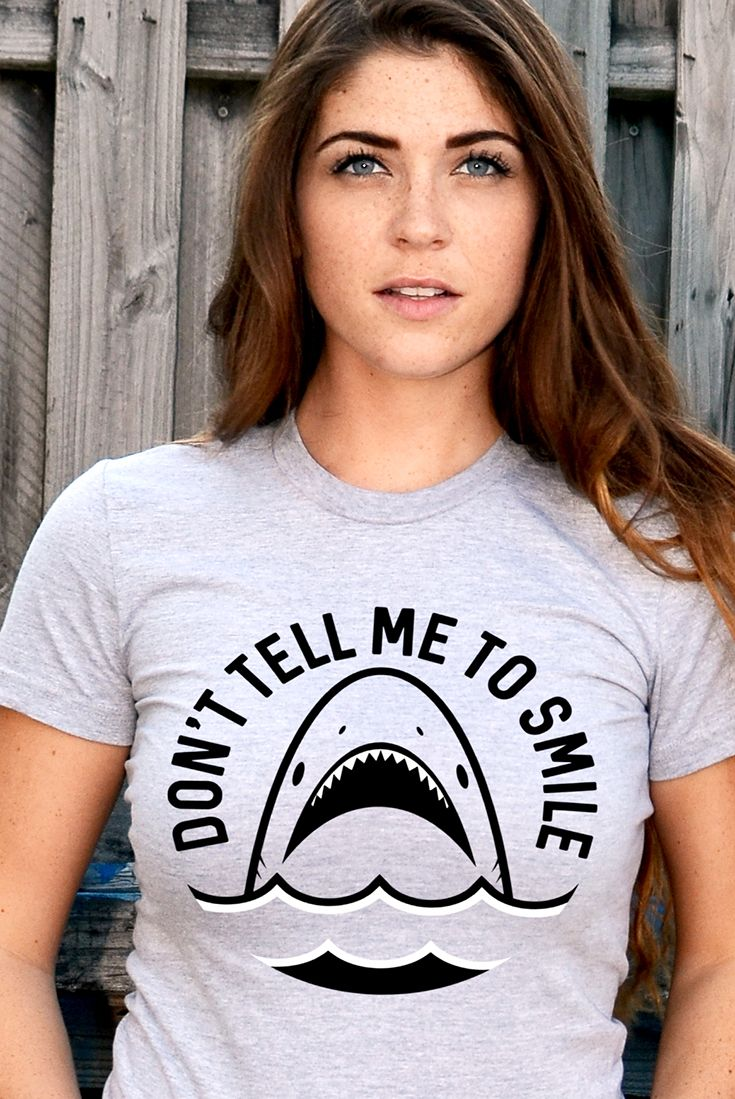 """""""Don't Tell Me To Smile"""" grey shark shirt"""
