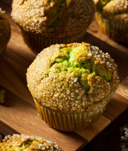 Homemade Green Pistachio Muffins Ready to Eat