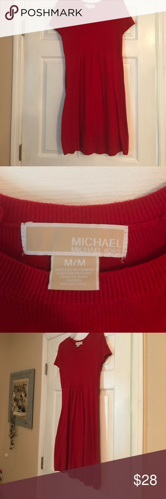 Michael Kors red dress Soft cotton red dress. Perfect to wear alone in summer or with leggings or tights in winter. No rips or stains. Michael Kors Dresses Midi
