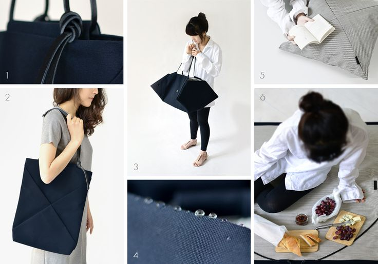 Ship_Shape collection is out! 1 - detachable knotted leather handles ( Ship-Shape tote); 2 - Ship-Shape tote; 3 - Ship-Shape bag & picnic mat; 4 - waxed cotton canvas; 5 - Ship-Shape cushion cover; 6 - picnic with Ship-Shape bag & picnic mat.