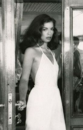 Bianca Jagger 70s rocker bride wedding dress white halter supermodel studio 54