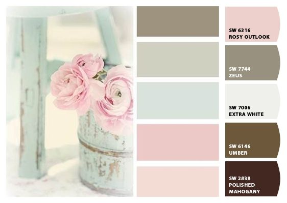 pretty pastel pinks and greens color palette
