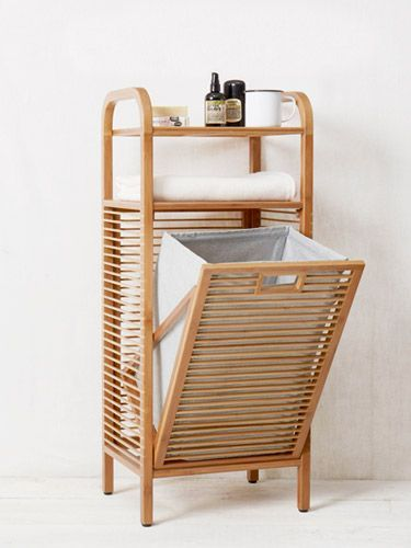 Perfect for putting your dirty washing but also for towel storage if you wanted it.  Very versatile piece.