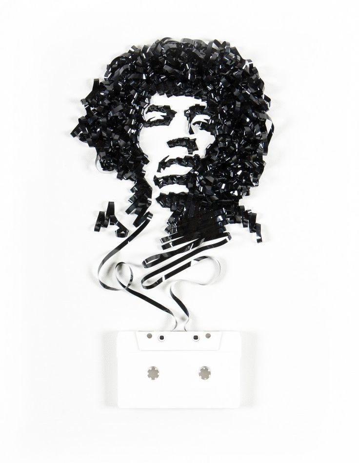 Casette Tape Art - Ghost in the Machine: Jimi Hendrix by Erika Iris Simmons: Iris Simmons, Artists, Erika Iris, Jimi Hendrix, Cassette Tape, Tape Art, Irises, Jimihendrix, Portraits