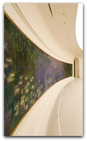 Monet, France, The Musee de l'Orangerie, home to 8 paintings from Monet's large-format series of Water Lilies.