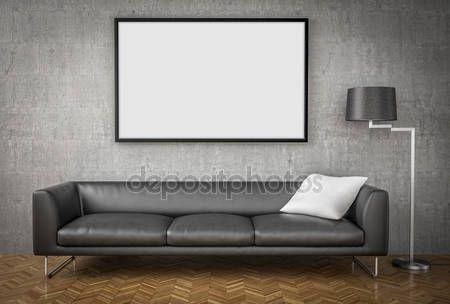 Descargar - Simulacros de cartel, sofá grande, Fondo de pared de hormigón, illustrat 3d — Imagen de stock #78635356