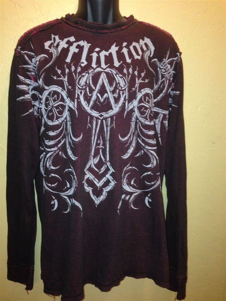 Affliction Black Red Maroon Reversible Thermal Long Sleeve Shirt XL  #Affliction #EmbellishedTee